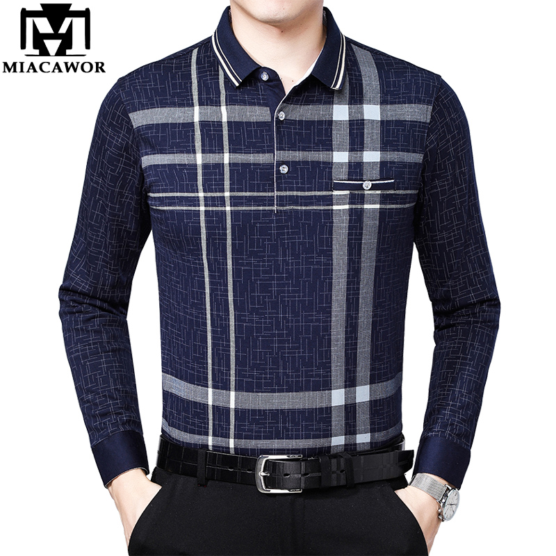 MIACAWOR New Spring Long Sleeve Men Polo Shirt Plaid Polo Homme Business Camisa Polo Masculino Casual Men Tee Shirts T810