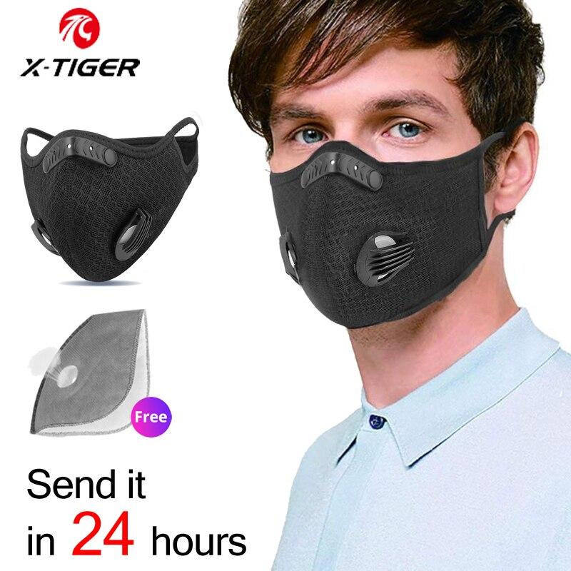 X TIGER Спортивная велосипедная маска для лица с 2 фильтром фильтр против загрязнения PM 2,5 дыхательная маска для бега с активированным углем|Маска для велоспорта|   | АлиЭкспресс
