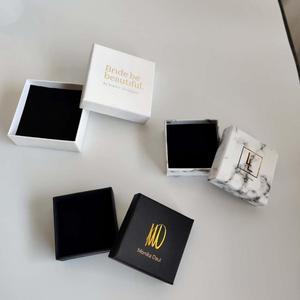 Image 2 - 100 TEILE/LOS schmuck geschenk boxen Weiß Benutzerdefinierte verpackung box mit logo   Ring Halskette Armbänder Ohrring Geschenk Verpackung box