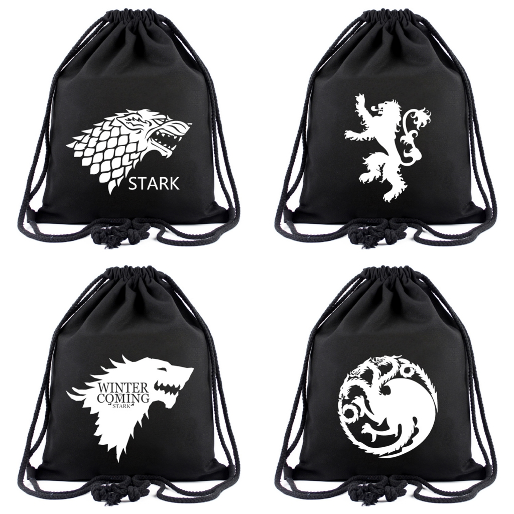 Game Of Thrones Canvas Drawstring Bags House Stark Backpack Women Fashion Cosmetic Stringbag Boys Girls Beach Bag Shoes Pouch