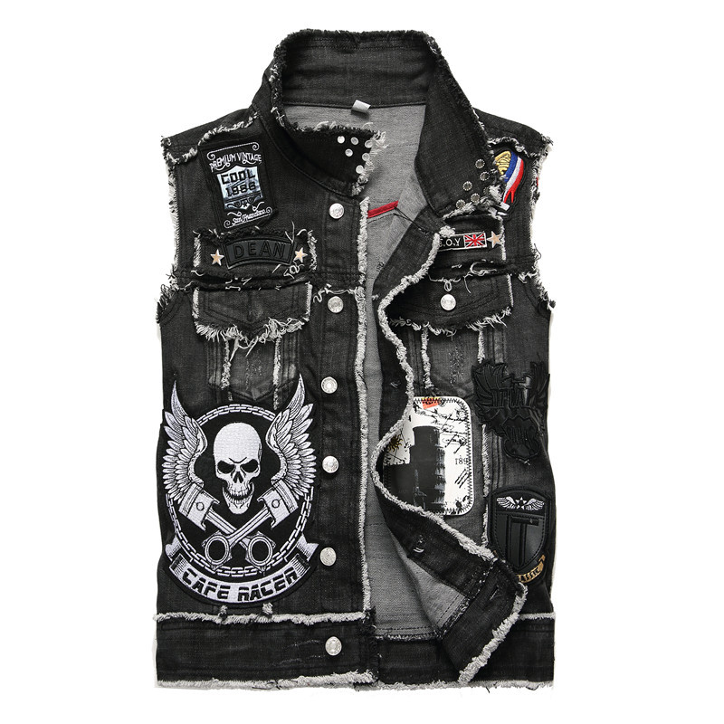 Men's Denim Vest Skull Embroidery Black Fringe Trendy Patches Patchwork Rivet Letters Slim Waistcoat Tank Top