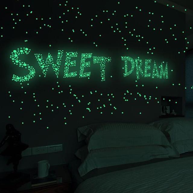 211/202pcs Luminous 3D Stars Dots Wall Sticker Kids Room Bedroom Home Decoration Decal Glow In The Dark DIY Stickers 3