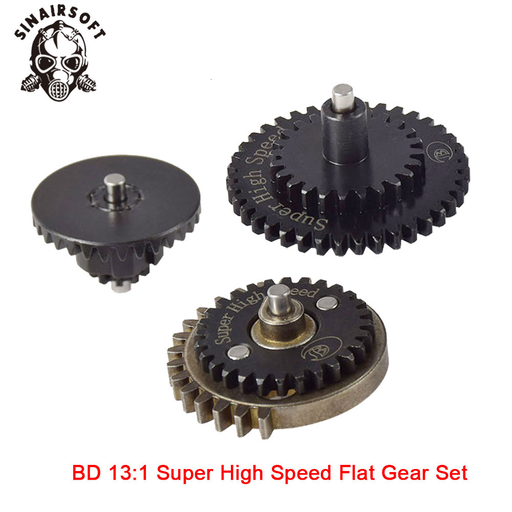 Hot BD High Quality CNC 13:1 Super High Speed Flat Gear Set Fit Ver.2 / 3 AEG Airsoft Gearbox For Hunting Paintball Shooting