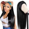 SVT прямой парик с головной повязкой синтетические парики из натуральных волос для черный Для женщин бразильский Волосы Remy головка бандо пов...