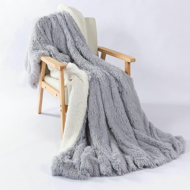 Couverture en fausse fourrure Super doux chaud Sherpa Feece jeter couverture lit canapé couvre-lit longue Shaggy épaissir chaud couverture de lit couverture