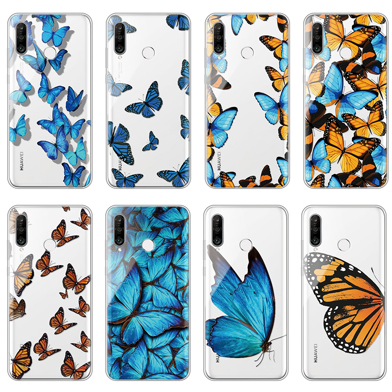 Butterfly Soft TPU Fundas For Huawei Honor Enjoy 9X 9 Lite 8X Pro Mate 20 10 30 P40 P30 P20 Lite E Pro P Smart Plus 2019 Z Case(China)
