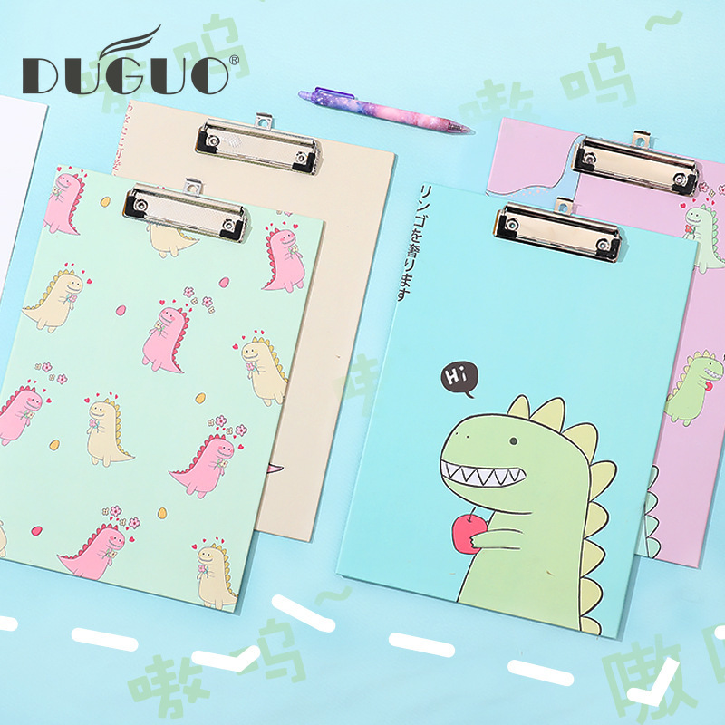 DUGUO Cute Stationery Creative Small Dinosaur Board Clip A4 Learning Office Supplies Cartoon Information Splint Kawaii Supplies