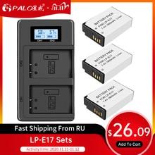 PALO 2 adet LPE17 LP E17 LP E17 pil + LCD USB çifte şarj makinesi Canon EOS 200D M3 M6 750D 760D t6i T6s 800D 8000D öpücük X8i kameralar