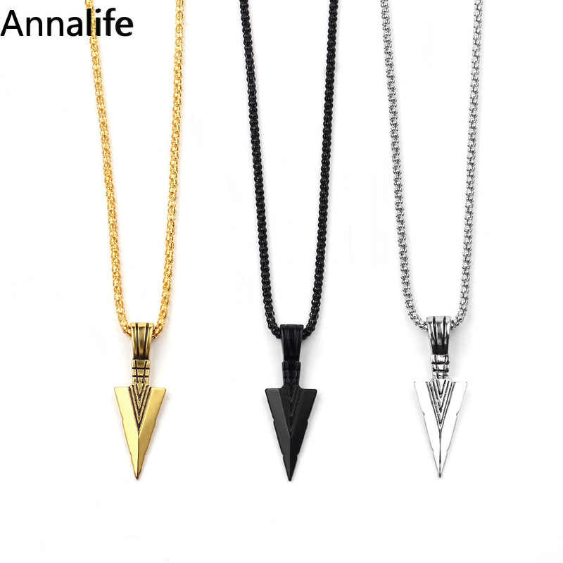 2019 New Men's Fashion Jewelry Gold Silver black Arrow Head Pendant Long Chain Necklace mens stainless steel necklaces