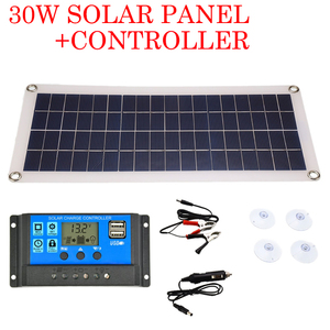 30W Solar Panel Dual USB Output Solar Cells Poly Solar Panel 10/20/30/40/50A/60A Controller for 12V/24V Battery Power Charger
