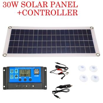 30 Вт солнечная панель с двойным выходом USB солнечные элементы поли солнечная панель 10/20/30/40/50A/60A контроллер для 12 В/24 В зарядное устройство