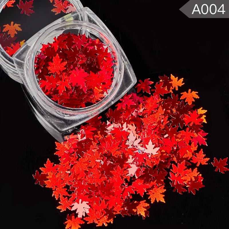 Conocer a través de Multi Color de hoja de arce de Arte de uñas de Color naranja o dorado holográfica copos de brillantina paleta de lentejuelas para uñas de etiqueta