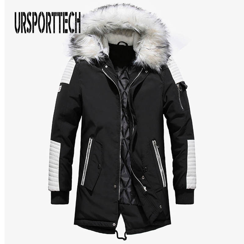 New Winter Jacket Men Big White Fur Hooded Collar Long Parka Coat Large Size Thicken Warm Long Outwear Mens Jackets And Coats