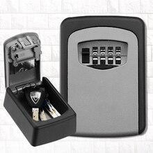 Caja de bloqueo de almacenamiento de llaves para exteriores, caja de seguridad de llave de contraseña de combinación de 4 dígitos, reiniciable, soporte de código Hider