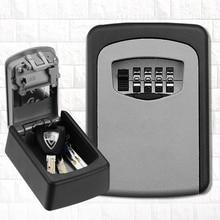 Wall Mounted Outdoor Key Storage Lock Box 4 Digit Combination Password Key Safe Box Resettable Code Key Holder Hider
