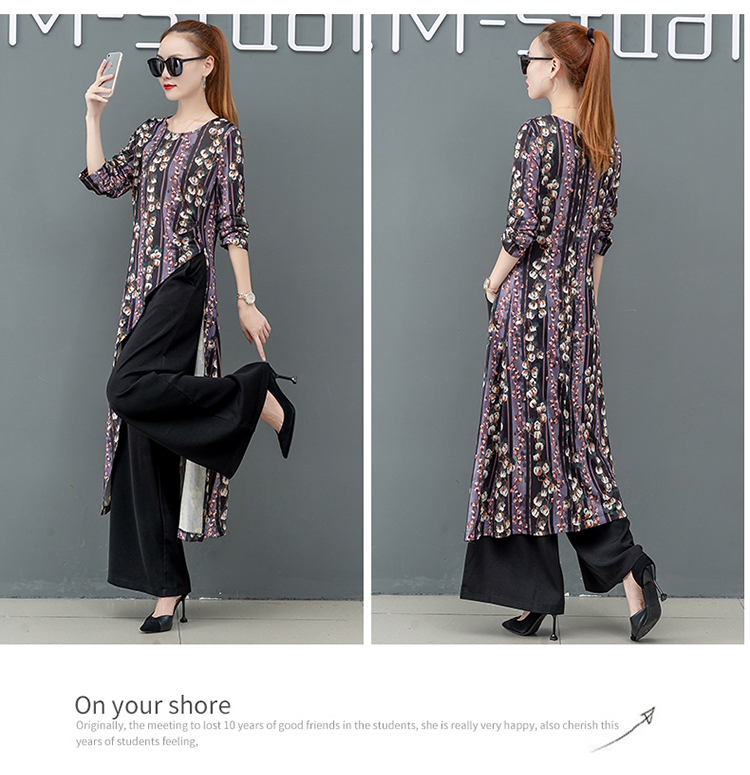 Printed Two Piece Sets Outfits Women Plus Size Splicing Long Tops And Wide Leg Pants Suits Elegant Office Fashion Korean Sets 59