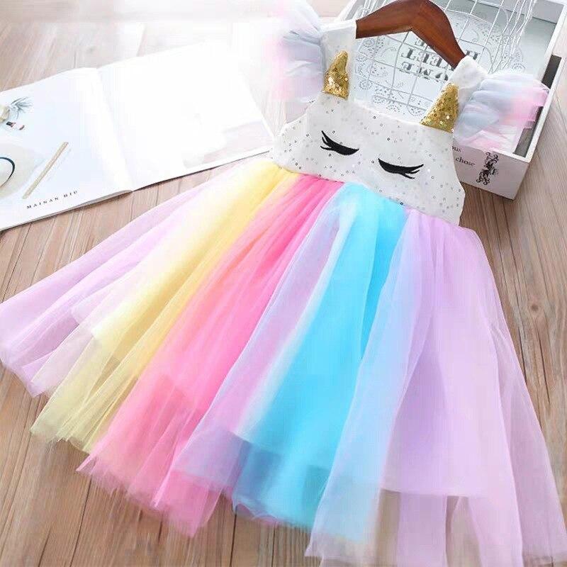Girls  Colorful Dress 2020 Summer Party Dresses Princess Dress Elegant Casual Unicorn Rainbow Costumes Children Clothing 3-7Y
