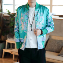 Style Jacket Chinese Men Coat Dragon Robe Printed Jacquard Coat Bomber Jacket Streetwear Clothes Casual Dress Baseball Jacket(China)
