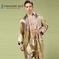 Mens Silk Robe Luxury Bathrobe 100% Pure Silk Men Sleepwear Kimono Robe Boxer Briefs Set Male Nightgown Size L XL XXL