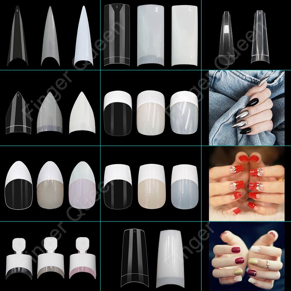 100pcs White Clear French False Acrylic Nail Tips Full/Half Cover Tips Coffin Fake Nails UV Gel Manicure Fake Nail Tips