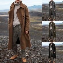 Autumn Vintage Men's Overcoat Brand Long Business Blends Jacket Classic Men Solid Color Long