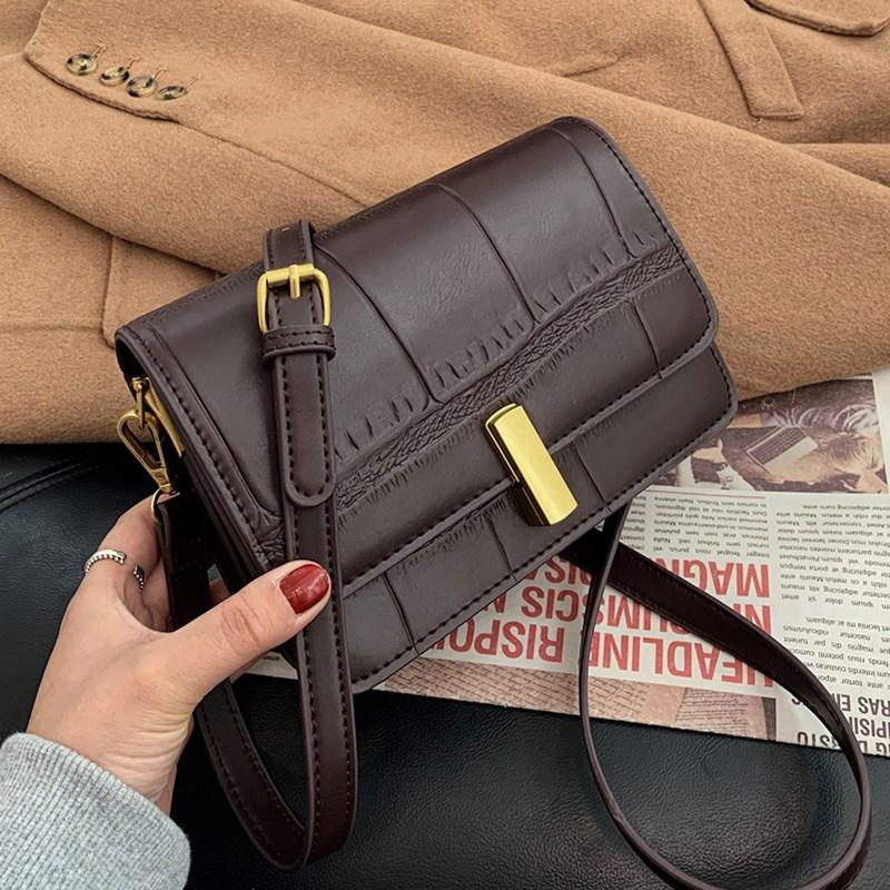 Pedrería Retro patrón bolso bolsas para las mujeres 2021 nuevo pequeño solapa mensajero bolso mujer calidad cuadrados bolso de hombro de cuero de Pu