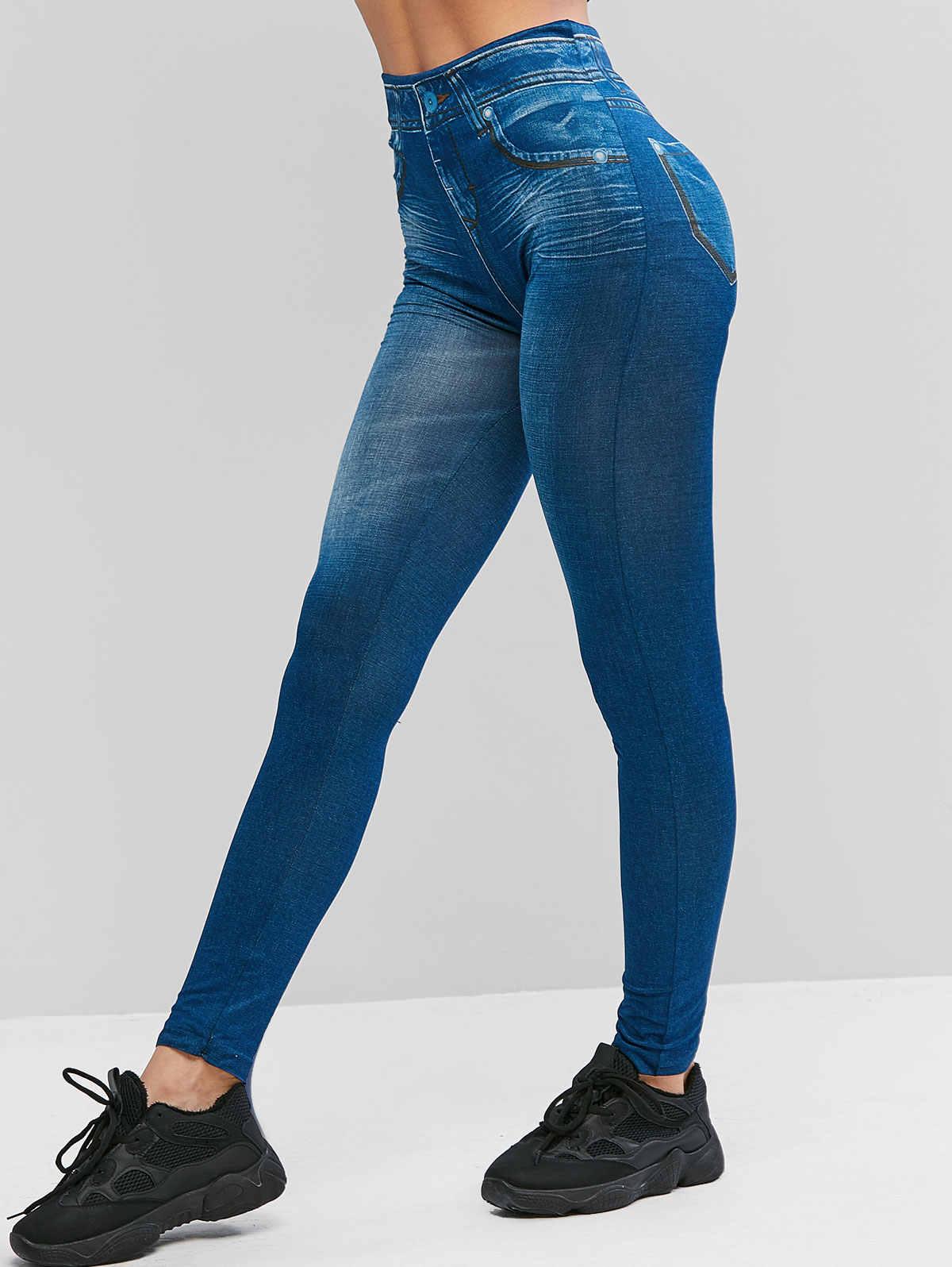 ZAFUL Denim Leggings Vrouwen Broek Elastische Hoge Taille Afdrukken Leggings 2019 Herfst Broek Jumper Streetwear Lange Jeggings Femme