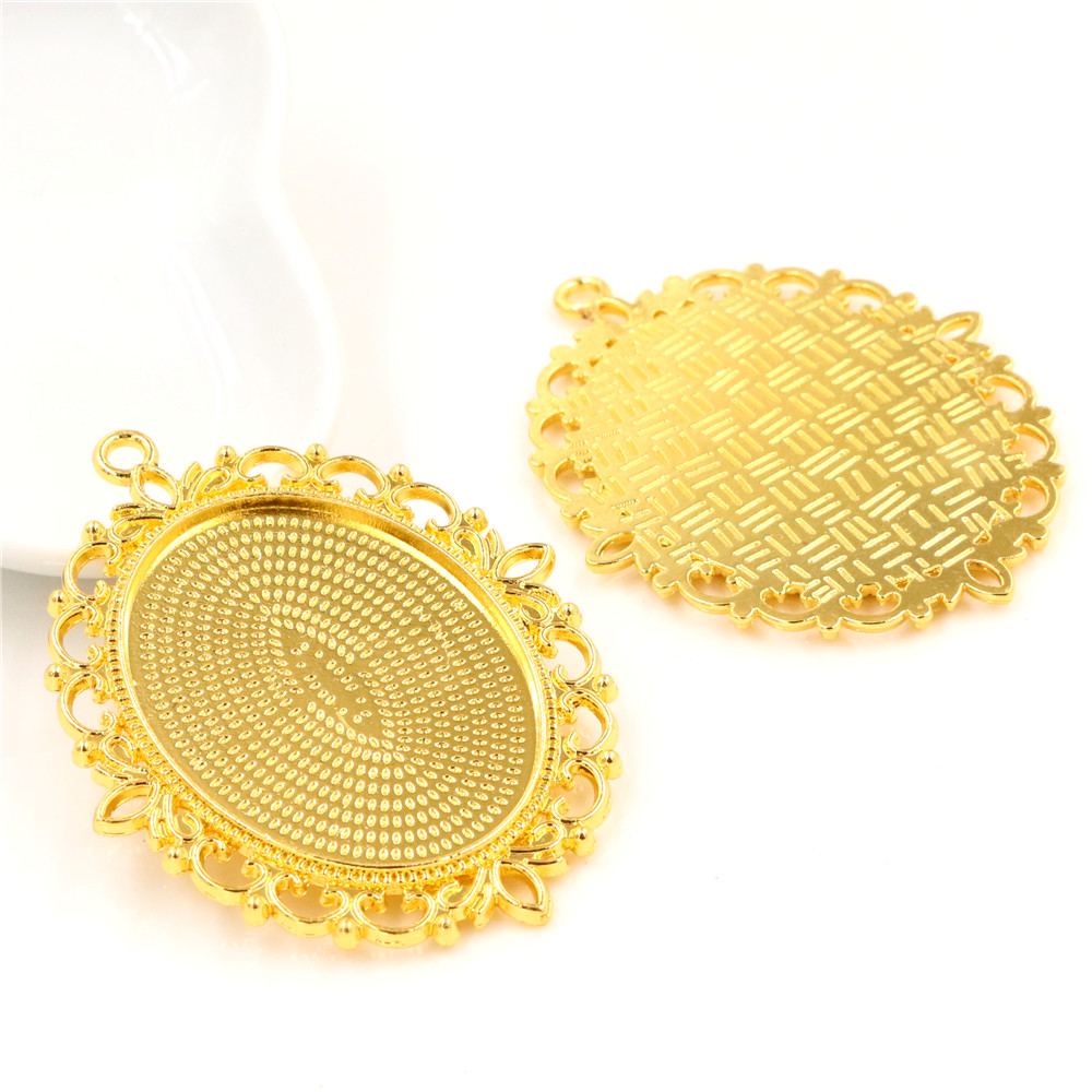 5pcs/lot 30x40mm Inner Size Gold Flower Style Cabochon Base Setting Charms Pendant-B1-27