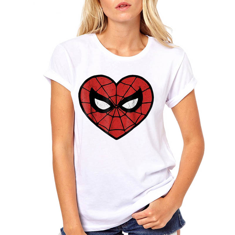 Women Tshirt Spider Man Mask Funny Cartoon Printed Fashion Woman Harajuku Kawaii Camisas Mujer Top Tee Shirt T Female T-shirt