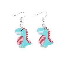 1 пара много стилей мультфильм милый акрил динозавр серьги красочный животное капля серьги для детей подарки