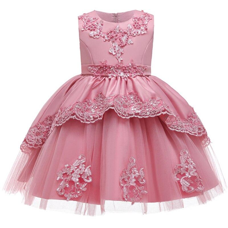 Robe dété douce pour filles 3-12 ans, robe de mariée, ligne dorée, à fleurs brodées, robe de soirée danniversaire