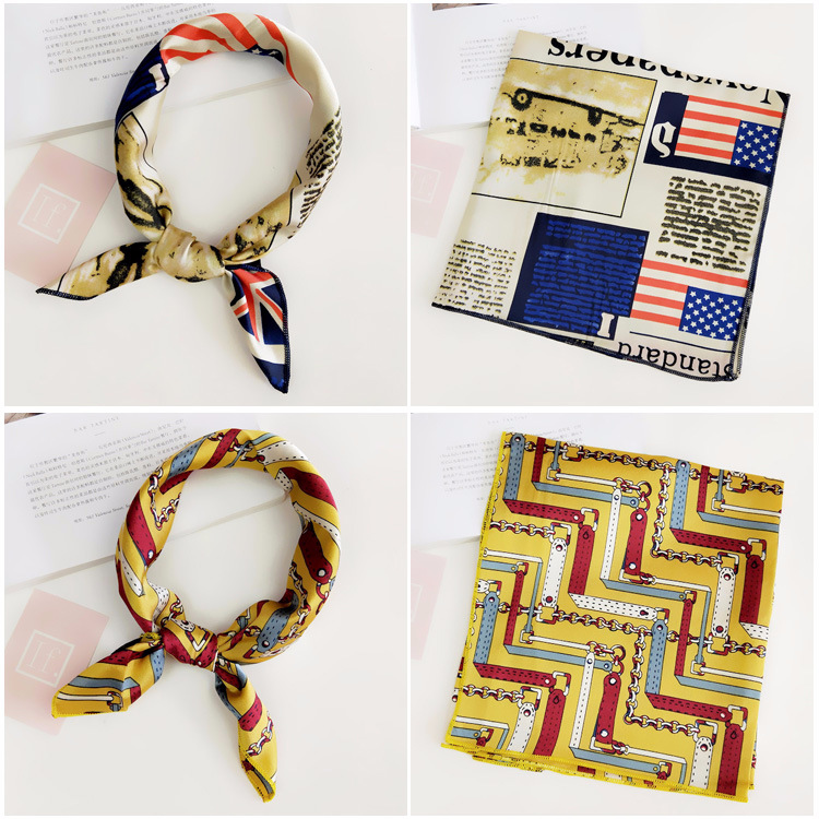 H48bdab14ed9d4914ad3d5d9aeb776bebF - Square Scarf Hair Tie Band For Business Party Women Elegant Small Vintage Skinny Retro Head Neck Silk Satin Scarf