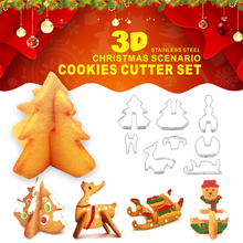 8pcs/set Stainless Steel 3D Christmas Scenario Cookie Cutter Moulds Biscuits Baking Pastry Cutters Slicers Kitchen Mould