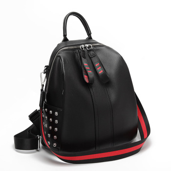 New 2019 Small Backpack Women Anti Theft Backpack Real Leather Travel Backpack School Bags for Girls Mini Rivet Fashion Bag Pack