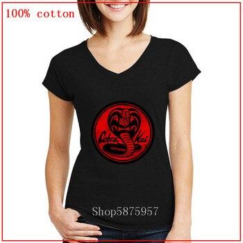 Cobra Kai emblem-camiseta roja con cuello en V 100% Tops y camisetas casuales de algodón 2020 ropa de moda verano ropa de calle Tops informales para mujeres