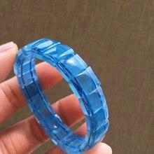 תעודת טבעי כחול קרח תרשיש ברור מלבן חרוזים נשים גברים צמיד 11.6mm תכשיטי קריסטל ריפוי אבן AAAAA