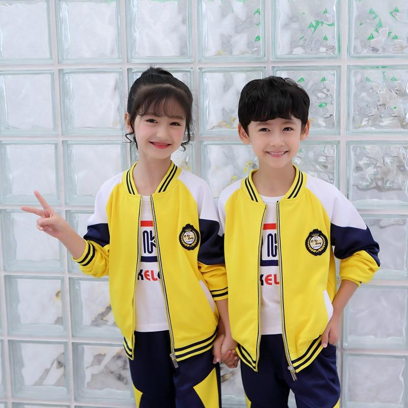 2019 New Style Young STUDENT'S School Uniform Children Baseball Uniform Sports British Style Business Attire Kindergarten Suit S