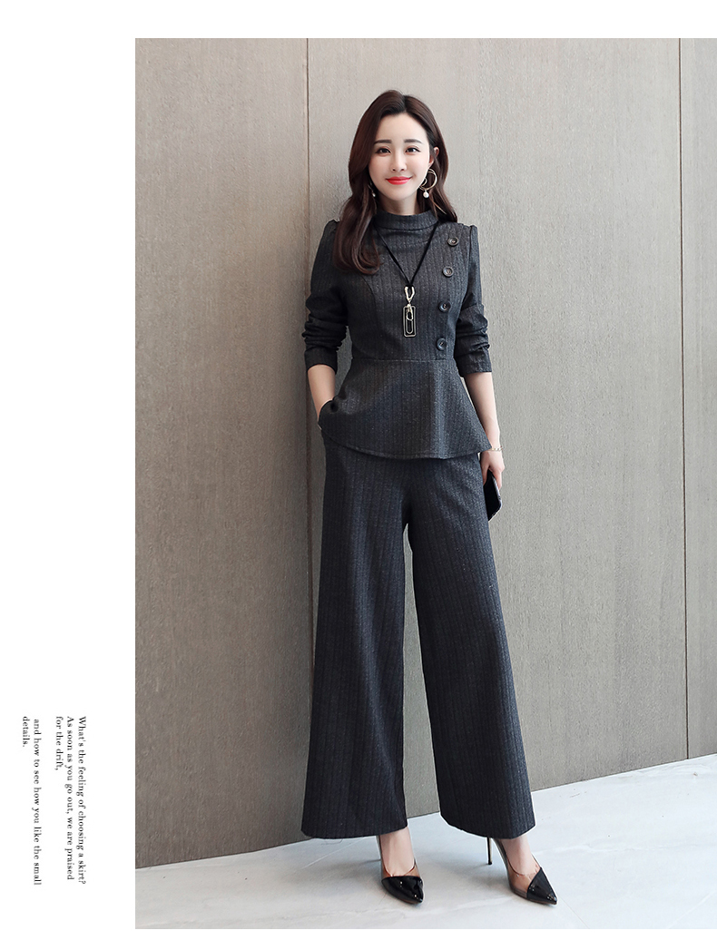 Black Grey Office Two Piece Sets Outfits Women Plus Size Buttons Tops And Wide Leg Pants Suits Elegant Fashion Ladies Suits 2019 42