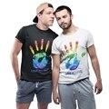 Ручной принт любовь гей футболка Радужный футболка ЛГБТ Festivalt Футболка Скидка 100% хлопок для Для мужчин рубашки Homme роман