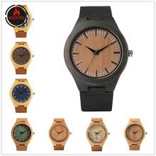 Oferty specjalne męskie drewniane zegarki naturalnie drewniane kwarcowy zegarek z paskiem z prawdziwej skóry Hot moda drewniane zegarki prezenty dla mężczyzn tanie tanio REDFIRE 24inch Moda casual QUARTZ Nie wodoodporne Klamra Bambus 10mm Akrylowe Kwarcowe Zegarki Na Rękę Nie pakiet Skórzane