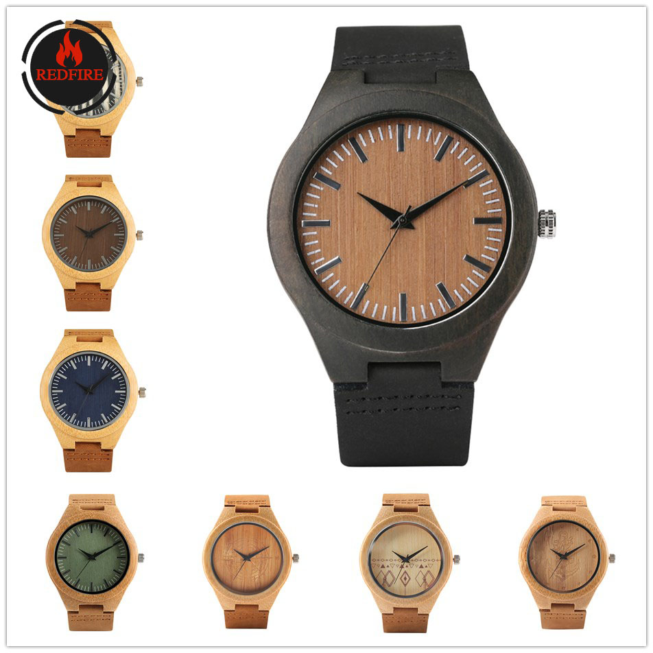 Wood Watches Timepiece-Gifts Special-Deals Male Genuine-Leather Fashion Quartz for Natural title=