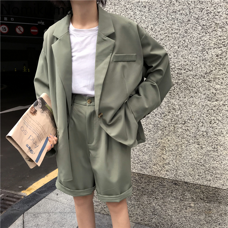 Nomikuma Vintage Fashion 2 Piece Outfits Women Solid Casual Blazers High Waist Suit Knee Length Pants Lady Sets Streetwear 3a796