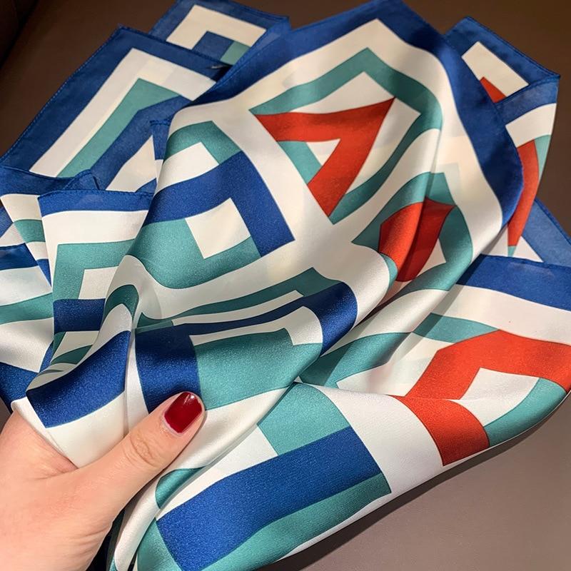 Elegant Small Kerchief Silk Satin Hijab Scarf For Women Square Shawls Geometric Print Neck Scarfs Female 70cm Scarves For Ladies