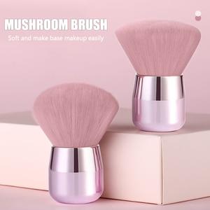 FUQUE 1 pc Large Soft Blusher Brush Pink Hair Mushroom Powder Makeup Brush With Portable Aluminum Short Handle Make Up Tool