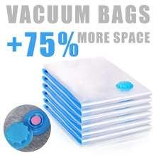 12 pces casa conveniente saco de vácuo para saco de armazenamento de roupas transparente dobrável comprimido organizador de poupança selo pacote