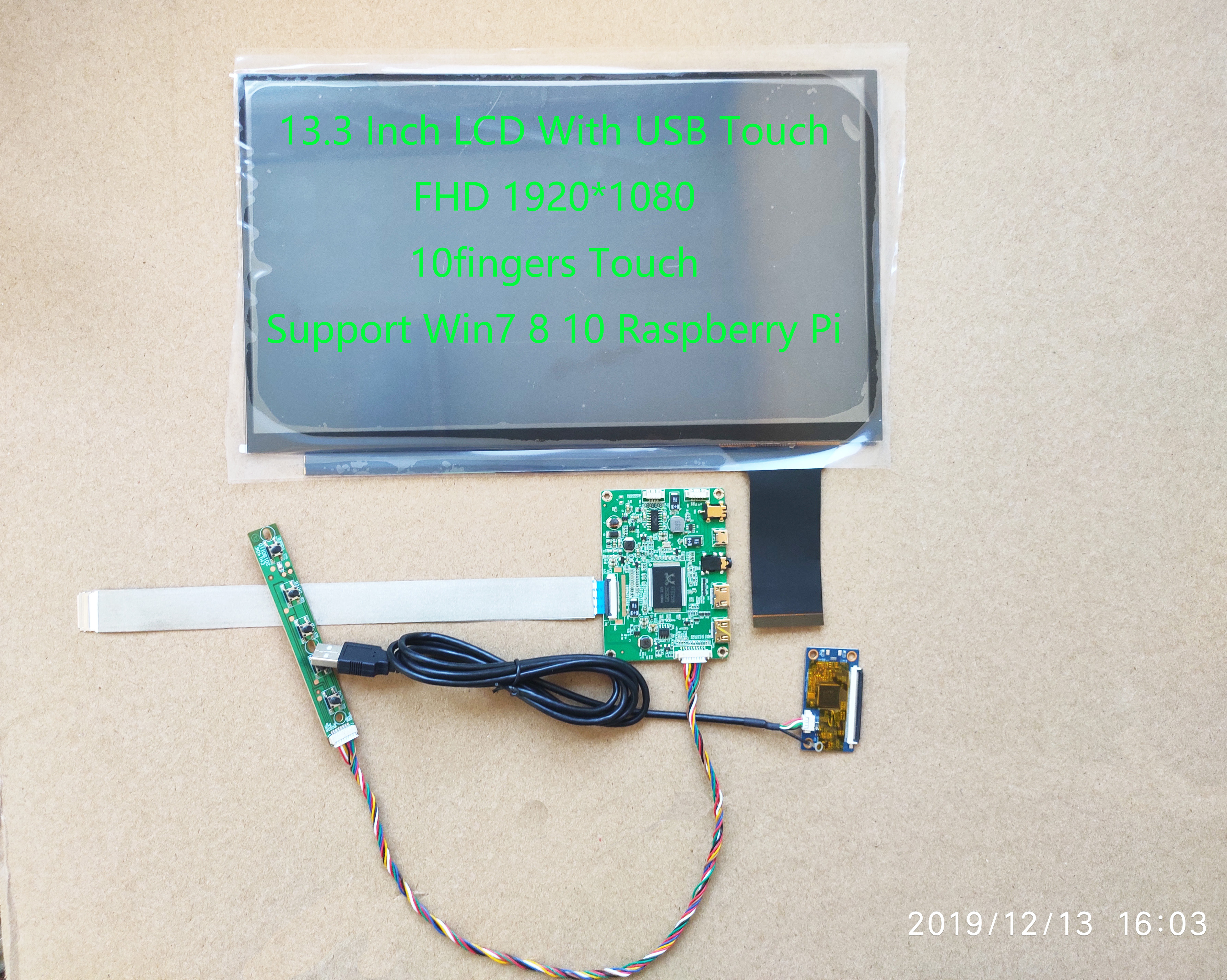 13.3inch Lcd With Driver And Touch 10points Support Win7 Win8 Win10 Raspberry PI