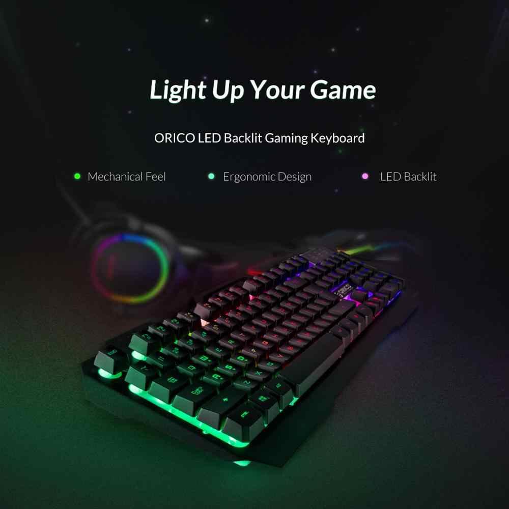 ORICO Wired Gaming Tastatur Mechanische Tastatur 104 tasten Wasserdichte LED Backlit USB Tastaturen Mit 19 tasten ohne konflikt
