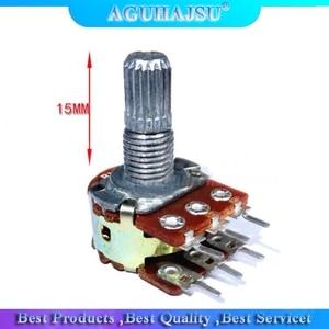 5pcs WH148 B1K B2K B5K B10K B20K B50K B100K B500K 6Pin 15mm Shaft Amplifier Dual Stereo Potentiometer 1K 2K 5K 10K 50K 100K 500K