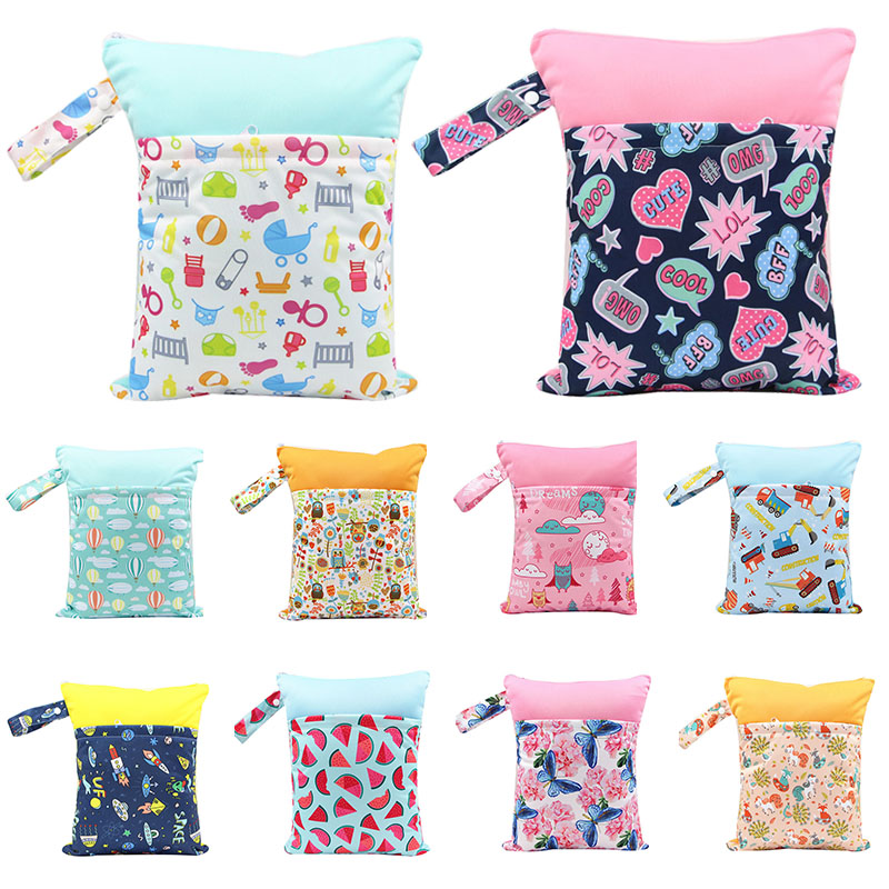 Baby Diaper Bags Waterproof Multifunction Travel Nappy Bags Maternity Carry Bags Cartoon Print Wet Dry Nappy Handbag With Zipper