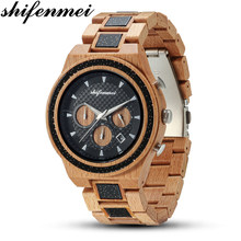 Shifenmei Mens Watches Wooden Watch Date Display Casual Men Luxury Wood Clock Chronograph Sports Military Quartz Watches in Wood